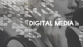 Ψηφιακή έννοια σύνδεσης δικτύων πληροφόρησης των μέσων ενημέερωσης Στοκ Φωτογραφίες