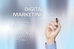 Ψηφιακή έννοια τεχνολογίας μάρκετινγκ Διαδίκτυο On-line Βελτιστοποίηση μηχανών αναζήτησης SEO SMM τηλεοπτική διαφήμιση στοκ φωτογραφία