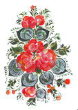 Ψηφιακή ανθοδέσμη τέχνης τυπωμένων υλών και συνδετήρων των λουλουδιών στο ρωσικό ύφος Volkhovskaya Στοκ Φωτογραφίες