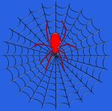 Ψηφιακή απεικόνιση έντομο Μια γιγαντιαία αράχνη στον Ιστό του Στοκ Εικόνες