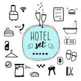 Ψηφιακή απεικόνιση, διανυσματικό σύνολο ξενοδοχείων Στοκ Εικόνα