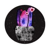 Ψηφιακή απεικόνιση με το διαστημικό κάκτο και τα ρόδινα λουλούδια διανυσματική απεικόνιση