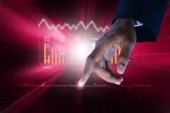 Ψηφιακή απεικόνιση της γραφικής παράστασης αύξησης πωλήσεων στο χρηματιστήριο Στοκ Εικόνες