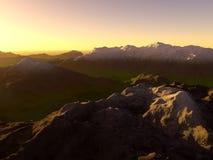 Ψηφιακή απεικόνιση του τοπίου βουνών Στοκ φωτογραφία με δικαίωμα ελεύθερης χρήσης