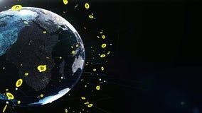 Ψηφιακή γήινη σφαίρα με το ψηφιακό δίκτυο και τα νομίσματα του bitcoin στο διαστημικό ζουμ που πυροβολείται έξω 4K απεικόνιση αποθεμάτων