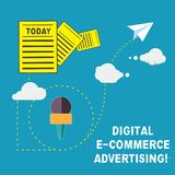 Ψηφιακή διαφήμιση ηλεκτρονικού εμπορίου κειμένων γραφής Έννοια που σημαίνει τις εμπορικές συναλλαγές των αγαθών και των υπηρεσιών απεικόνιση αποθεμάτων