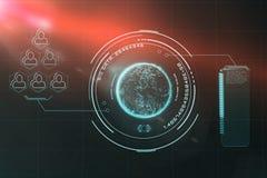 Ψηφιακή εικόνα της σφαίρας με το μεγάλο κείμενο στοιχείων και την κοινωνική συνδετικότητα τρισδιάστατα Στοκ Φωτογραφία