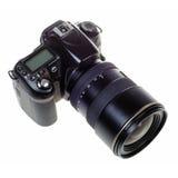Ψηφιακή ενιαία ανακλαστική κάμερα φακών DSLR που απομονώνεται Στοκ Εικόνα