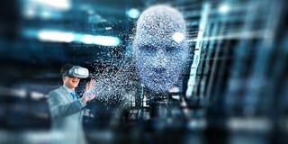Ψηφιακή επικεφαλής, τεχνητή νοημοσύνη και εικονική πραγματικότητα r στοκ φωτογραφία με δικαίωμα ελεύθερης χρήσης
