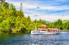 Ψηφιακή ζωγραφική ατμοπλοίων Katrine λιμνών Στοκ φωτογραφία με δικαίωμα ελεύθερης χρήσης