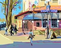 Ψηφιακή ζωγραφική της εικονικής παράστασης πόλης την άνοιξη Στοκ φωτογραφία με δικαίωμα ελεύθερης χρήσης