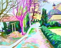 Ψηφιακή ζωγραφική του αγροτικού τοπίου, διάνυσμα σύγχρονης τέχνης άρρωστο ελεύθερη απεικόνιση δικαιώματος