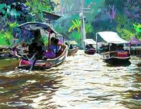 Ψηφιακή ζωγραφική του ποταμού της Ταϊλάνδης, plein σύγχρονη τέχνη αέρα ελεύθερη απεικόνιση δικαιώματος