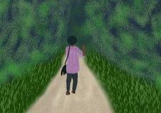Ψηφιακή ζωγραφική του προσώπου που περπατά στα ξύλα Απεικόνιση αποθεμάτων
