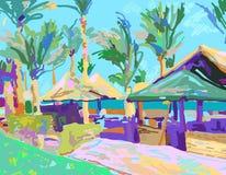 Ψηφιακή ζωγραφική του τοπίου θερινών παραλιών στην Αίγυπτο απεικόνιση αποθεμάτων