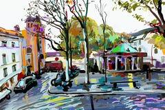 Ψηφιακή ζωγραφική του τοπίου του Παρισιού, σύγχρονη τέχνη ελεύθερη απεικόνιση δικαιώματος
