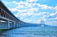 Ψηφιακή ζωγραφική Oresundsbron Στοκ Εικόνες