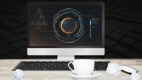 Ψηφιακή ζωτικότητα της διεπαφής στη οθόνη υπολογιστή στο γραφείο φιλμ μικρού μήκους