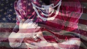 Ψηφιακή ζωτικότητα του παιχνιδιού φορέων ράγκμπι με τη σφαίρα ράγκμπι ενάντια στη αμερικανική σημαία απόθεμα βίντεο