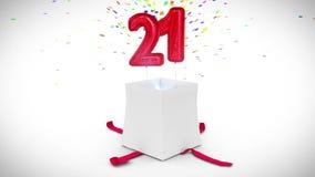 Ψηφιακή ζωτικότητα του δώρου γενεθλίων που εκρήγνυται και που αποκαλύπτει τον αριθμό είκοσι ένα απεικόνιση αποθεμάτων