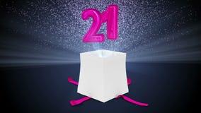 Ψηφιακή ζωτικότητα του δώρου γενεθλίων που εκρήγνυται και που αποκαλύπτει τον αριθμό είκοσι ένα ελεύθερη απεικόνιση δικαιώματος