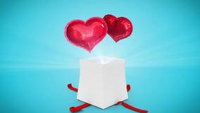 Ψηφιακή ζωτικότητα του δώρου γενεθλίων που εκρήγνυται και που αποκαλύπτει την καρδιά απεικόνιση αποθεμάτων
