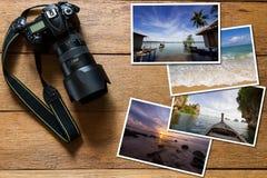 Ψηφιακή κάμερα DSLR και σωρός των φωτογραφιών στο εκλεκτής ποιότητας ξύλινο υπόβαθρο grunge στοκ εικόνες