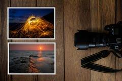 Ψηφιακή κάμερα DSLR και σωρός των φωτογραφιών στο εκλεκτής ποιότητας ξύλινο υπόβαθρο grunge στοκ εικόνα με δικαίωμα ελεύθερης χρήσης