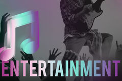 Ψηφιακή μουσική που ρέει τη σε απευθείας σύνδεση έννοια μέσων ψυχαγωγίας Στοκ Εικόνες