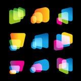 Ψηφιακή οθόνη της κινητής συσκευής, φωτεινό διανυσματικό σύνολο λογότυπων Πολλαπλών καθηκόντων συστήματα, μεγάλες βάσεις δεδομένω ελεύθερη απεικόνιση δικαιώματος