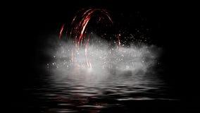 Ψηφιακή σπείρα πυρκαγιάς Μόριο χοβόλεων στο υπόβαθρο καπνού Αντανάκλαση νερού στο μαύρο υπόβαθρο στοκ εικόνες με δικαίωμα ελεύθερης χρήσης