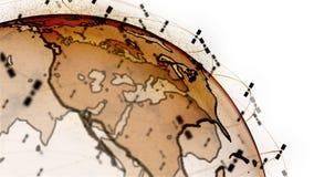 Ψηφιακή σφαίρα γήινων στοιχείων - αφηρημένοι τρισδιάστατοι δορυφόροι απόδοσης starlink τηλεοπτική σύνδεση δικτύων ο κόσμος δορυφό ελεύθερη απεικόνιση δικαιώματος