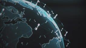 Ψηφιακή σφαίρα γήινων στοιχείων - αφηρημένοι τρισδιάστατοι δορυφόροι απόδοσης starlink τηλεοπτική σύνδεση δικτύων ο κόσμος δορυφό απεικόνιση αποθεμάτων