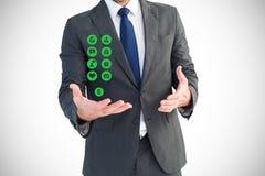 Ψηφιακή σύνθετη εικόνα του επιχειρηματία με τα ιατρικά εικονίδια Στοκ Εικόνες