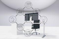 Ψηφιακή σύνθετη εικόνα των διάφορων εικονιδίων και του υπολογιστή στην αρχή Στοκ Φωτογραφίες