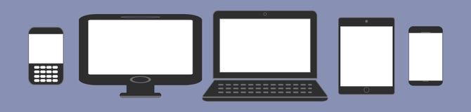 Ψηφιακή τάση παραγωγής συσκευών αντίστοιχα, σχέδιο για την παρουσίαση Ιστού στο σύνολο εικονιδίων Στοκ Φωτογραφία