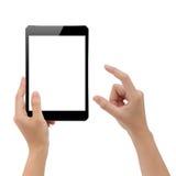 Ψηφιακή ταμπλέτα προτύπων εκμετάλλευσης χεριών και απομονωμένο δάχτυλο στοιχείο Στοκ εικόνες με δικαίωμα ελεύθερης χρήσης