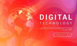 Ψηφιακή τεχνολογίας έννοια υποβάθρου εμβλημάτων κόκκινη πορτοκαλιά με τα παγκόσμια ελαφριά αποτελέσματα ελεύθερη απεικόνιση δικαιώματος