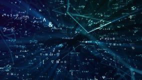 Ψηφιακή φουτουριστική απεικόνιση με το math, τύποι φυσικής στο πλέγμα δικτύων πλέγματος στοκ φωτογραφία