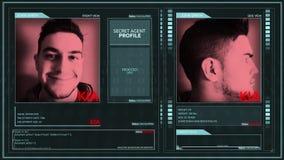 Ψηφιακή φουτουριστική μυστική διεπαφή σχεδιαγράμματος πρακτόρων ενεργός - kia - καρφίτσα γωνιών απόθεμα βίντεο