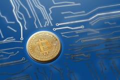 Ψηφιακοί κεντρικοί υπολογιστές παραγωγής νομίσματος πινάκων κυκλωμάτων Bitcoin Στοκ Εικόνα