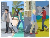 Ψηφιακοί νομάδες που κινούνται εύκολα μέσω των διαφορετικών πολιτισμών που κάνουν τις εργασίες τους Διανυσματική απεικόνιση