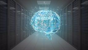 Ψηφιακός εγκέφαλος σε ένα δωμάτιο κεντρικών υπολογιστών απεικόνιση αποθεμάτων