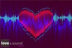 Ψηφιακός εξισωτής καρδιών μουσικής επίσης corel σύρετε το διάνυσμα απεικόνισης στοκ φωτογραφία με δικαίωμα ελεύθερης χρήσης