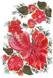 Ψηφιακός κόκκορας τέχνης τυπωμένων υλών και συνδετήρων με τα λουλούδια στο ρωσικό ύφος 2 αρχεία PNG + JPG Στοκ Εικόνες