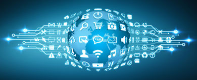Ψηφιακός κόσμος με τα εικονίδια Ιστού Στοκ εικόνα με δικαίωμα ελεύθερης χρήσης