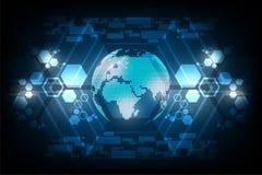 Ψηφιακός κόσμος του μέλλοντος στο σκούρο μπλε υπόβαθρο Στοκ Εικόνες