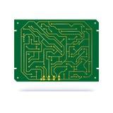 Ψηφιακός πίνακας κυκλωμάτων που απομονώνεται στο λευκό Επαφές χαλκού στον πράσινο πίνακα textolite για το υπόβαθρο τεχνολογίας ηλ Στοκ Εικόνα
