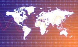 Ψηφιακός παγκόσμιος χάρτης γραφικός Έννοια παγκόσμιας σύνδεσης Στοκ Φωτογραφίες