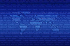Ψηφιακός παγκόσμιος χάρτης πέρα από το μπλε υπόβαθρο δυαδικού κώδικα διανυσματική απεικόνιση